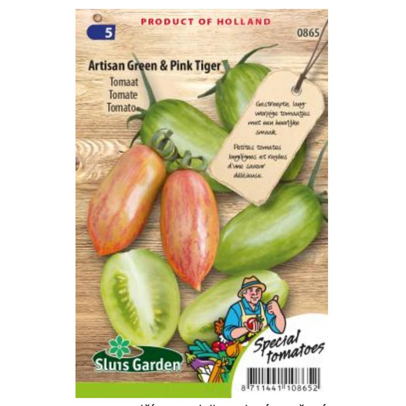 Artesian Green a Pink Tiger paradajka dvojfarebná kolíková 16 semien
